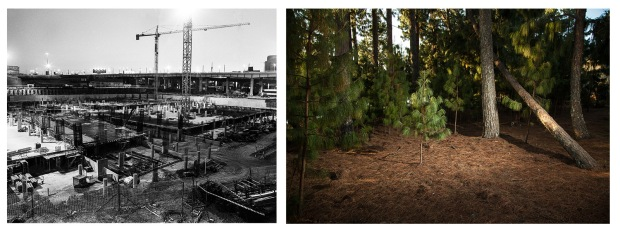 (left) Matthew Kay's Construction Site, Johannesburg, and (right) Jay Caboz's Artificially lit plantation, Midlands